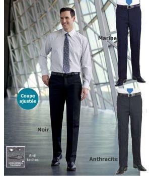 Pantalon homme, Coupe ajustée, Sans pinces, Polyester et Viscose