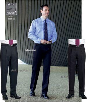 Pantalon homme, Avec pinces, 2 poches côté, Polyester et Viscose