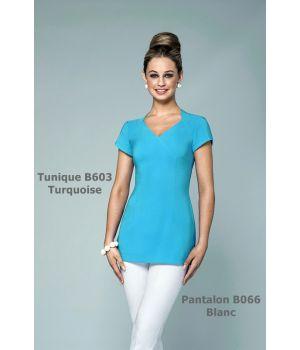 Tunique esthéticienne Turquoise, Taille 34 Confort bi-stretch