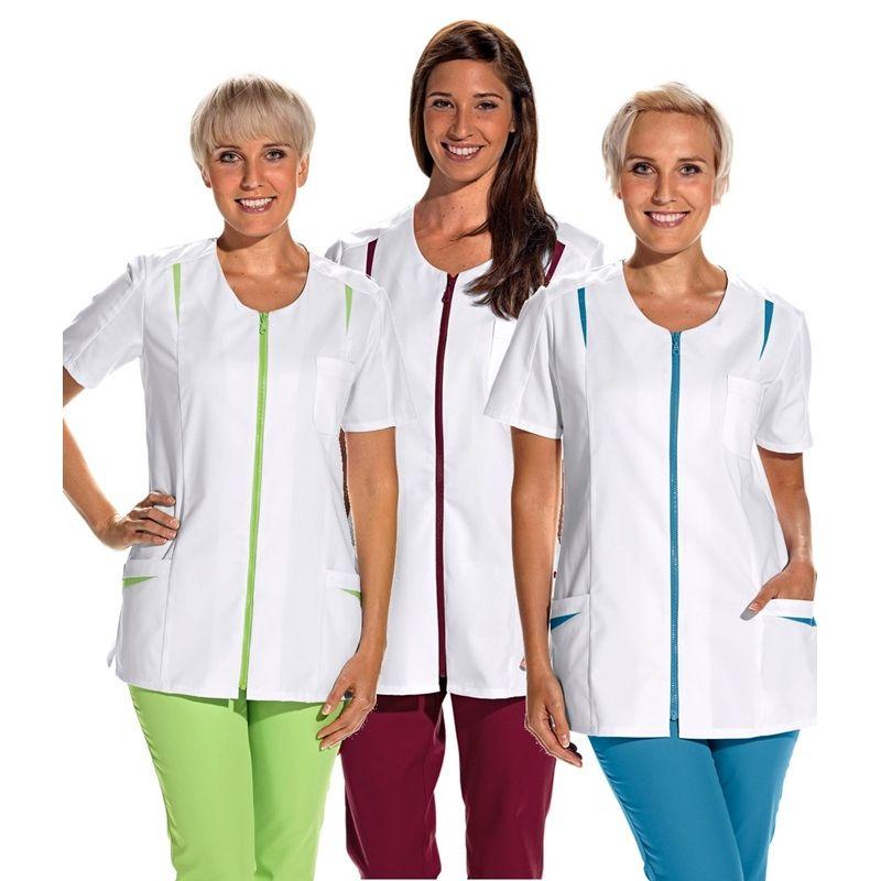 blouse mdicale courte pour femme fermeture glissire couleur - Blouses Medicales Colores