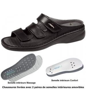 chaussures Reflexor® Femme Semelle massante Cousu main Cuir noir