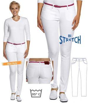 Pantalon femme, Jegging tendance en bi-stretch, Blanc taille 38
