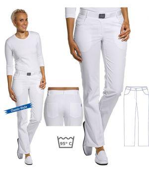 Pantalon blanc femme, Taille élastiquée au dos, peut bouillir à 95°C