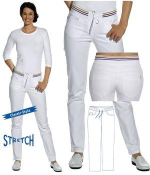 Pantalon blanc femme, 5 poches, Ceinture couleurs en maille confortable