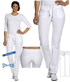 Pantalon Jean blanc femme, Stretch, Taille élastiquée en maille côtelée