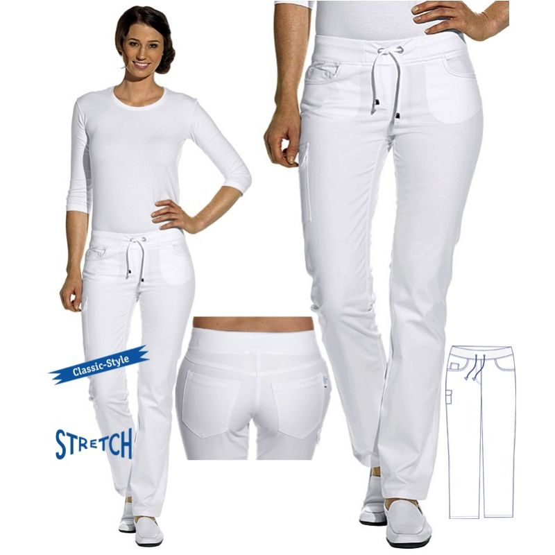 pantalon jean blanc femme stretch taille lastiqu e en. Black Bedroom Furniture Sets. Home Design Ideas