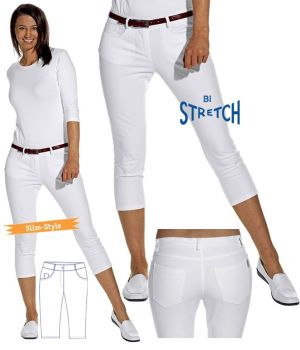 Pantalon 3/4 femme blanc, Jegging tendance en Bi-stretch