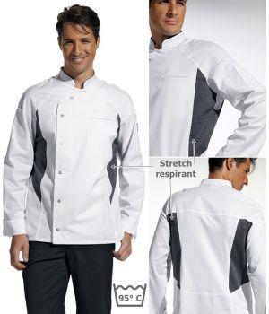 Veste de cuisine, stretch respirant au dos et au niveau des aisselles, blanc et gris