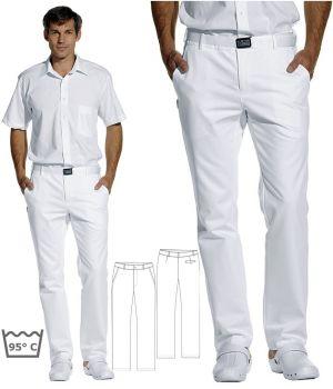 Pantalon blanc homme, satin de coton, peut bouillir à 95°C, sans pinces