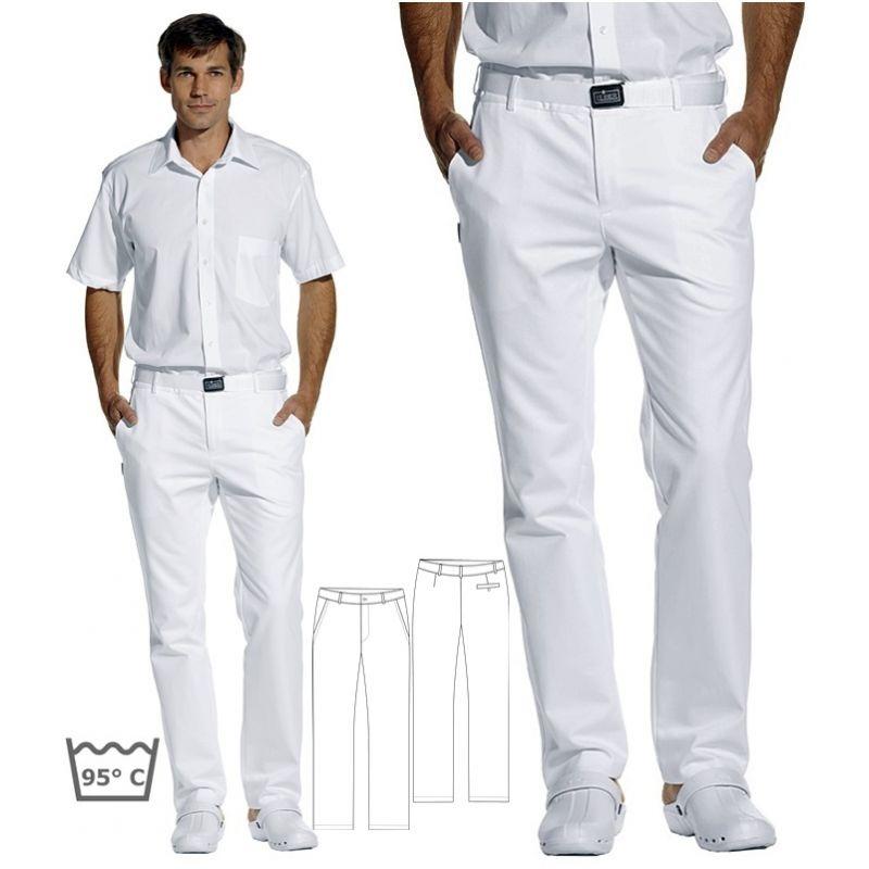 pantalon blanc homme satin de coton peut bouillir 95 c sans pinces. Black Bedroom Furniture Sets. Home Design Ideas