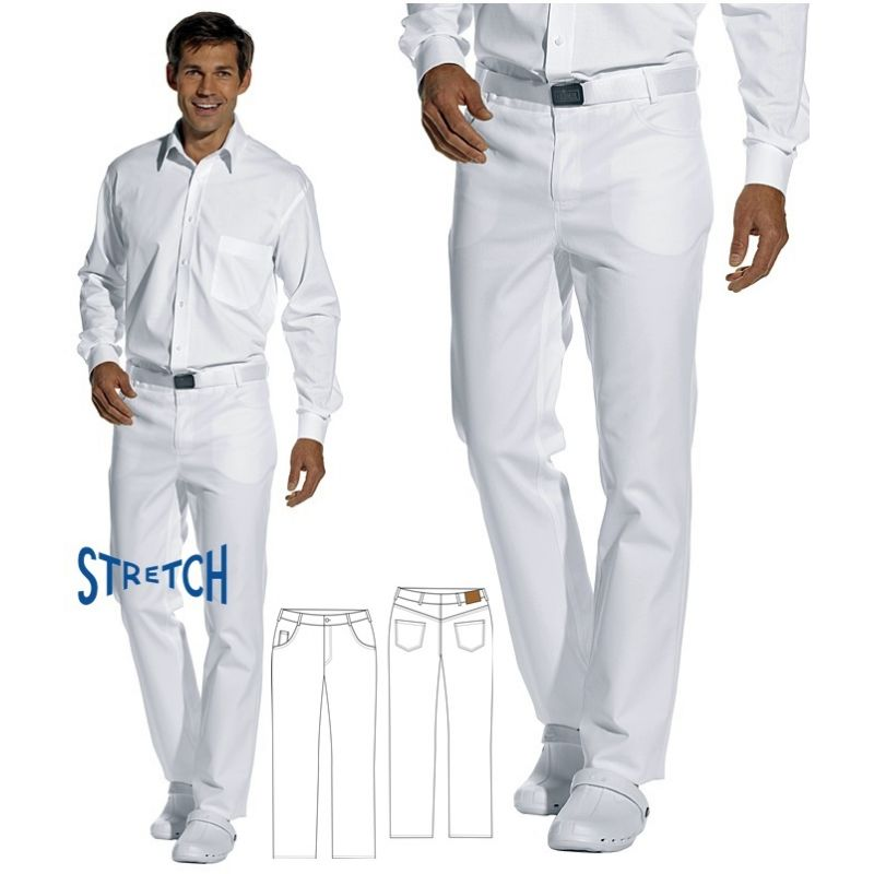 pantalon jean blanc homme confort stretch coton 5 poches. Black Bedroom Furniture Sets. Home Design Ideas