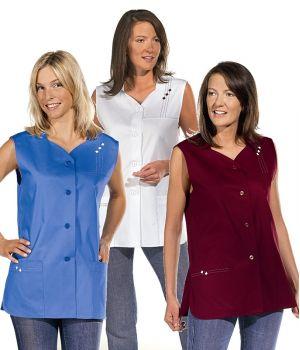 Tunique blouse femme sans manches, 2 poches côté, Ourlet arrondi
