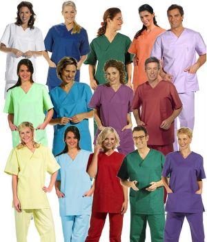 Tunique médicale couleur unisexe, manche courte, PolyCoton