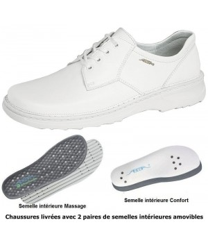 chaussures Reflexor® Homme Cuir blanc Semelle massante Cousu main