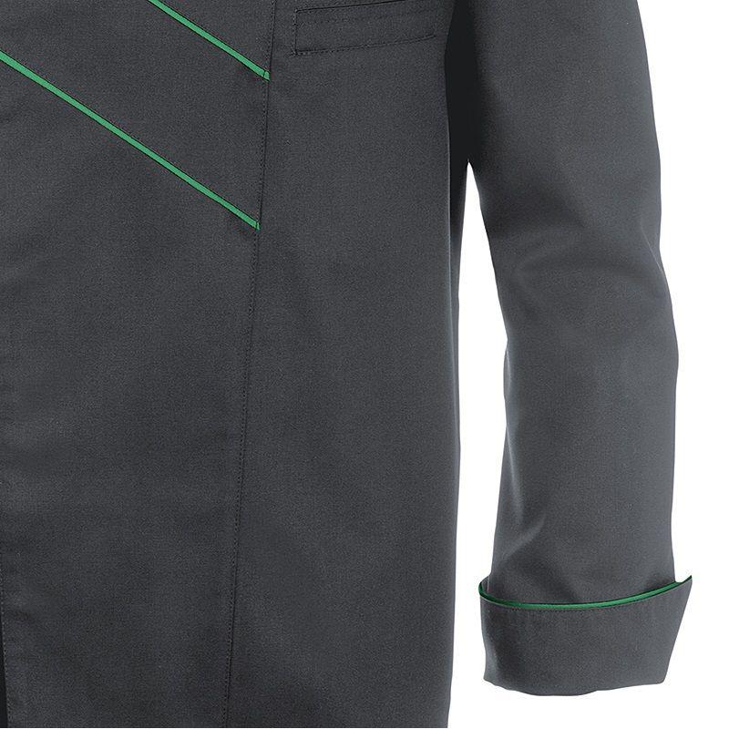 Veste de cuisine gris et vert col officier confort stretch manches longues - Cuisine gris et vert ...