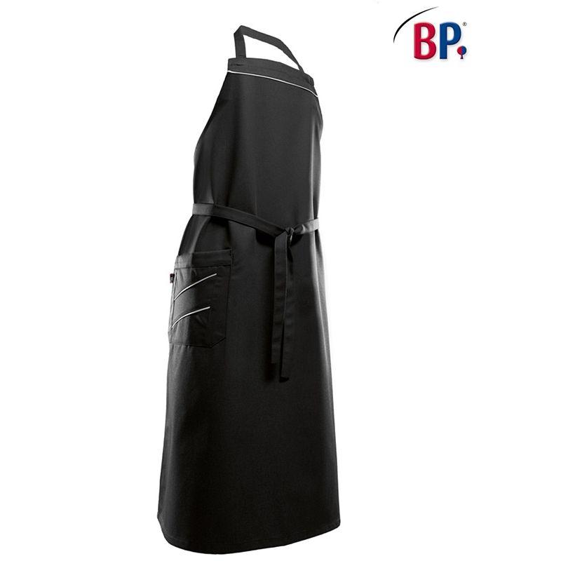 Tablier bavette long noir et bande de couleur adapt for Tablier de cuisine noir