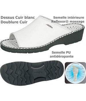 chaussures Reflexor® Femme Cuir semelle massante cousu main blanc