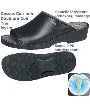 chaussures Reflexor® Femme Cuir Semelle massante Cousu main Noir