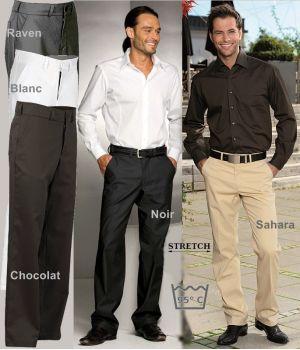 Pantalon Homme Stretch, Coupe droite, Bouton et fermeture à glissière, Fabriqué en Allemagne, peut bouillir