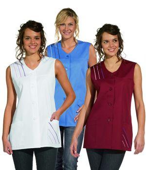 Blouse de Travail Femme sans manches, Passepoil coloré épaule et poche