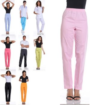 Pantalon Mixte Femme et Homme droit, Taille élastiquée, Sans poche