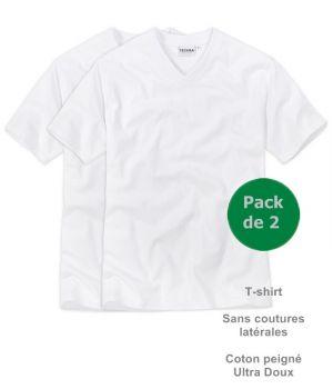 Tee-shirt Maillot de corps, Col V, Sans coutures latérales, Coton peigné