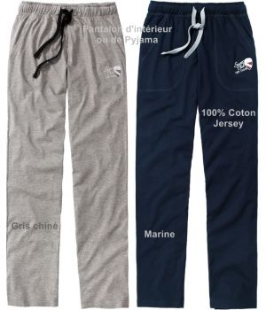 Pantalon d'intérieur relax ou de Pyjama, Taille élastiquée, Coton jersey