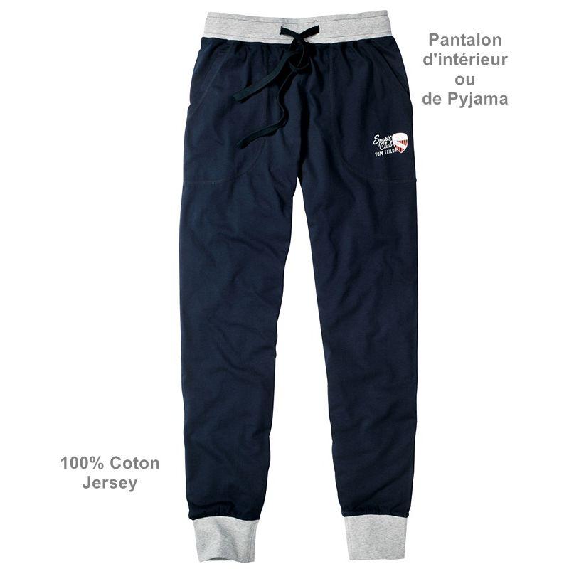 pantalon d 39 int rieur d contract ou de pyjama taille lastiqu e coton jersey. Black Bedroom Furniture Sets. Home Design Ideas
