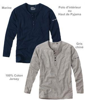Polo d'intérieur relax ou Haut de Pyjama, Manches longues, 100% Coton jersey