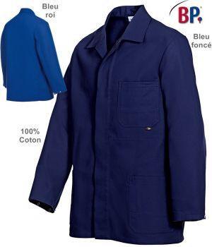 Veste de travail 100% coton, Boutonnage sous patte, Poignets réglables