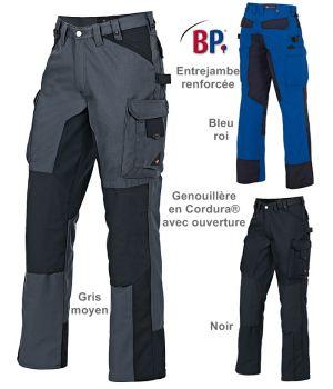 Pantalon travail homme, nombreuses poches, Boucle marteau, Genouillère en Cordura®, Robuste et performant