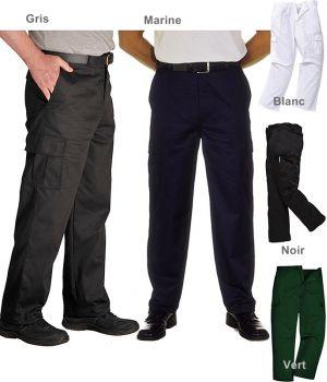 Pantalon de travail homme, polyester coton, nombreuses poches
