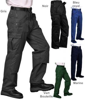 Pantalon travail homme polyester coton, nombreuses poches