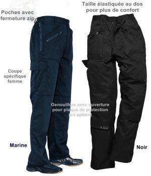 Pantalon de Travail Femme, PolyCoton, Poches avec Fermeture Zip