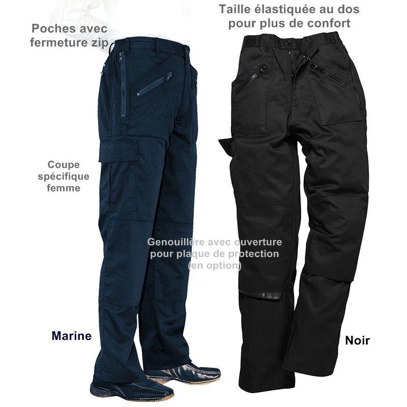 pantalon de travail femme polycoton poches avec. Black Bedroom Furniture Sets. Home Design Ideas