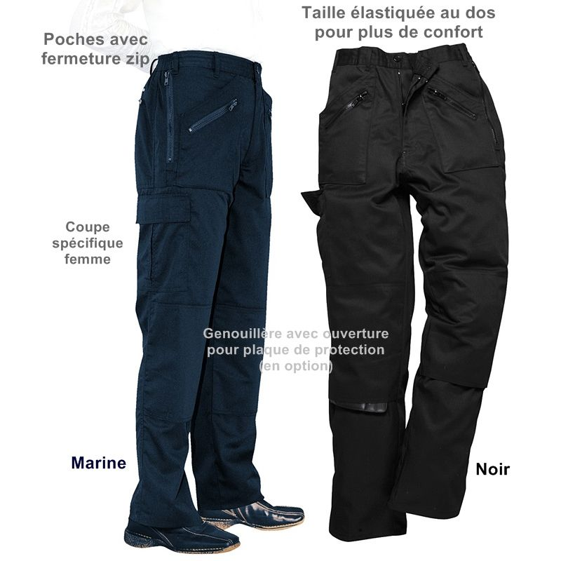 985b1f4947b22 Pantalon de Travail Femme, PolyCoton, Poches avec Fermeture Zip