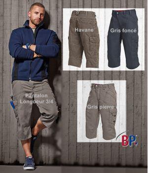 Pantalon 3-4, poches latérales, 2 poches cuisse fermées par rabat antivol, nombreuses poches