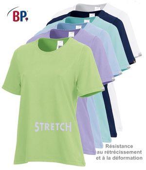 T-shirt femme manches courtes, Confort du stretch, Résistance au rétrécissement