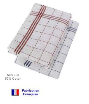 Torchons, Qualité Garantie Cholet, 50 % coton 50 % lin, Le pack de 6