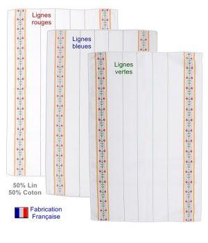Torchons de cuisine fleuris, Fabrication Française, 50% Coton, 50% Lin, Le pack de 6
