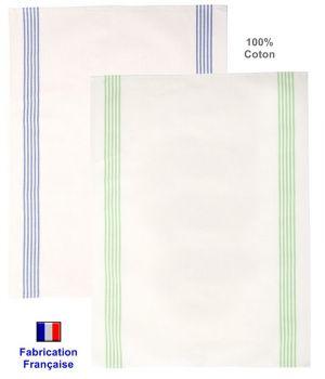 Torchons de cuisine Coton, Fabrication Française, écru et couleur, Le pack de 6