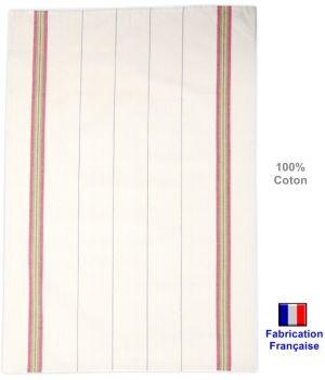 Torchons Traditionnels écru et bandes couleurs, fabrication française, Coton
