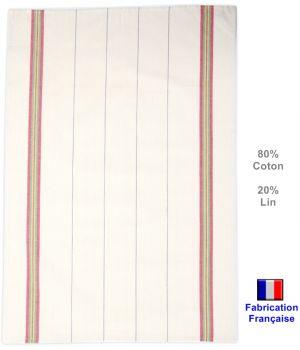 Torchons Traditionnels écru et couleurs, fabrication française, Coton et Lin