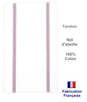 Torchons Traditionnels Nid d'abeille, Fabrication Française, 100% Coton, Le pack de 6