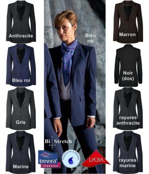 Veste femme Premium, Coupe classique longue, Confort bi-stretch, Infroissable