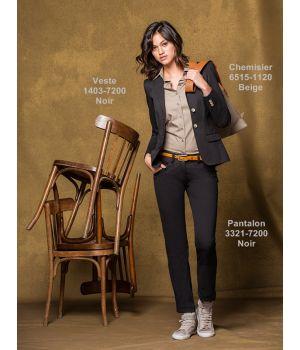 Pantalon Femme Chino Noir, Confort Coton et Stretch, 2 poches