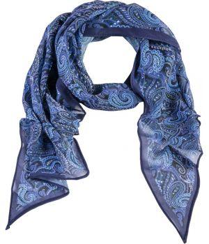 Foulard Long Imprimé, Couleur Bleu Cashmere, 100% Polyester Lavable