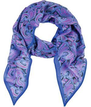 Foulard long imprimé, Couleur Bleu et Rose Cashmere, 100% Polyester lavable