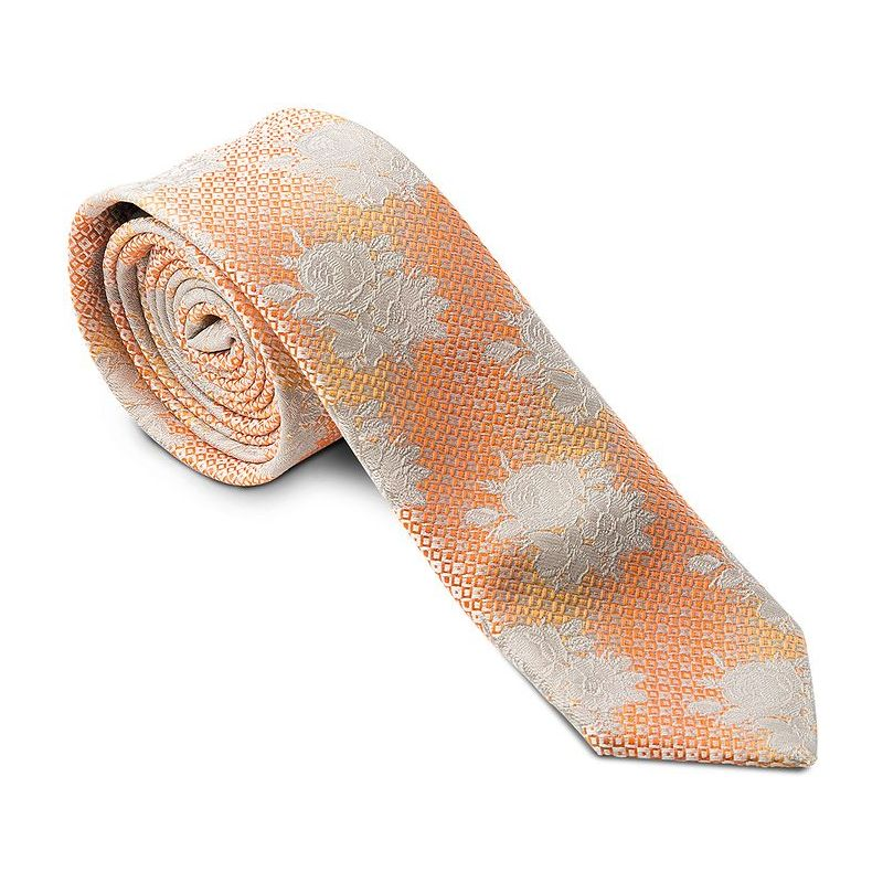 Cravate troite slim line couleur orange et fleurs gris - Couleur gris et orange ...
