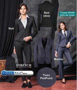 Veste Femme, Confort Coolmax et Stretch, Coupe cintrée, 1 bouton